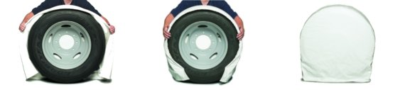 The easy covering process for Snap Ring Tire Savers